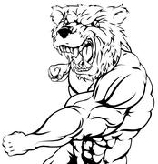 Stock Illustration of Tough bear mascot attacking