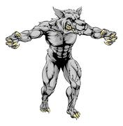Werewolf wolf scary sports mascot Piirros