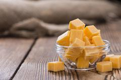 Pieces of Cheddar - stock photo