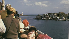 Ischia 1970s: ferry leaving the port Stock Footage