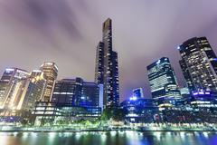Skyscrapers in Southbank precinct of Melbourne, Australia - stock photo