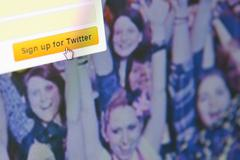 Close up image of Sign up for Twitter Stock Photos