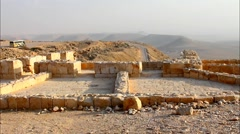 Press for grapes in the Roman part of the ancient Nabatean city of Avdat in t Stock Footage