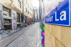 Hosier Lane in Melbourne, Australia Stock Photos
