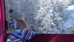4K Child in Alps Ski Lift Little Girl Alpine Cable Car Tourist Skiing in Winter Stock Footage
