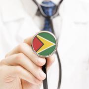 Stock Illustration of National flag on stethoscope conceptual series - Guyana