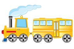 Locomotive with coach Stock Illustration