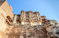 Different parts of Mehrangarh Fort, Rajasthan, Jodhpur, India - stock photo