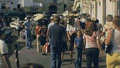 Capri 1970s: passengers leaving the ferry and going to the funicolare Stock Footage