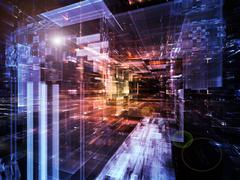 Virtual Life of City - stock illustration
