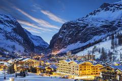 ski resort in French Alps - stock photo