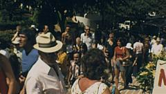 Capri 1970s: crowd walking to the top of the funicolare Stock Footage