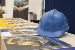 blue helmet for safety workers - stock photo