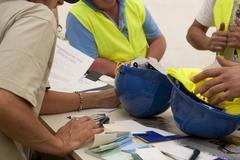 blue helmet - stock photo