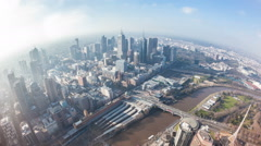 Timelapse video of the CBD of a city in daytime, fisheye view Stock Footage