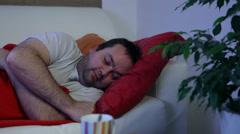 Ill man sleeping Stock Footage