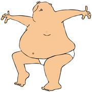 Fat man dancing in underwear - stock illustration
