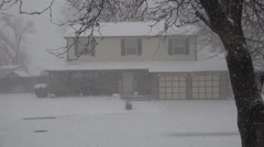 Snowing Hard on House Thru The Trees Stock Footage