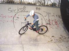 joung boy with his mountainbike trains BMX tricks in the halfpipe - stock photo