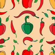 Vector seamless pattern with pepper - stock illustration