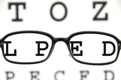 spectacles on an eye chart - stock photo