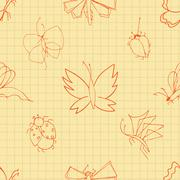 Set of butterflies painted on a school notebook in a cage. Doodle vector illu - stock illustration
