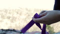 Two Hands Tie Webbing / Ropes For Climbing Stock Footage