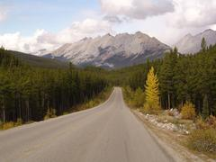 Panorama view in canada national park with indian summer Stock Photos
