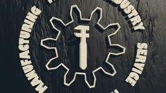 gear empty icon rotated around wrench pictogram on charcoal backdrop - stock footage
