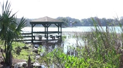 Gazebo Over Water Shores Of Lake Dora Stock Footage