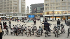 People at Berlin district Mitte at Alexanderplatz Stock Footage