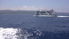 4K Cruise Sailing Sea Trip People in Boat Ship Travelling Tropical Island Beach Stock Footage