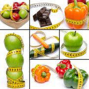 Collage with concepts of diet and weight loss - stock photo