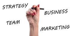 Strategy, business, team, marketing written with a black felt pen - stock photo