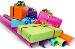 Gifts on color papers Stock Photos