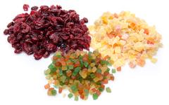 Assortiment of candied dried fruits - stock photo