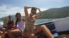 Brazilian Friends enjoy the Sailboat in Angra dos Reis Stock Footage