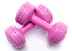 Pink dumbells - stock photo