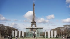 Eiffel tower peace monument frontal shot - 60fps Stock Footage