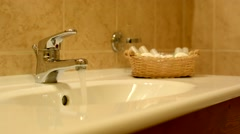 washbasin - running water - stock footage