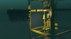 ROV inspecting underwater oil and gas equipment, 3D animation Stock Footage