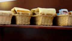 Baskets with food Stock Footage