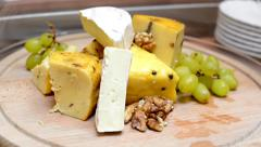 Cheese and camembert - grapes and walnut - luxury buffet in restaurant (hotel) Stock Footage