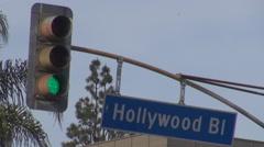 Hollywood sign boulevard traffic light Los Angeles highway freeway travel emblem Stock Footage