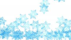 4K Light blue crystal snowflakes is falling down on a white Stock Footage