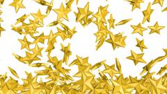 4K Gold stars is falling down on a white and forming a wall - stock footage