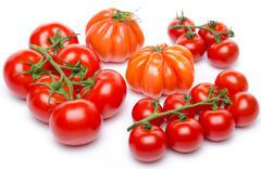 Stock Photo of Cluster and beefsteak tomatoes