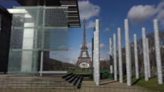 Eiffel tower peace monument out of focus - 60fps Stock Footage