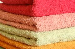 Stack of colorfull towels - stock photo