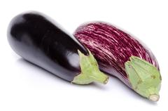 Purple and black eggplant - stock photo